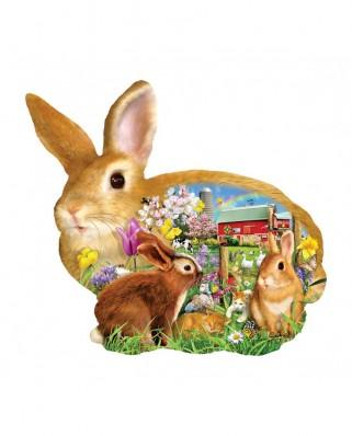 Puzzle 1000 piese contur - Lori Schory: Springtime Bunnies (Sunsout-97038)