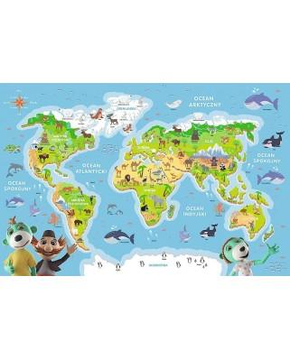 Puzzle 48 piese - World Map (in Polish) (Trefl-15552)
