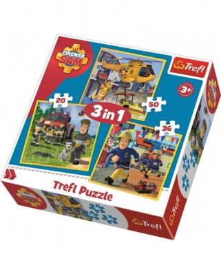Puzzle 20/36/50 piese - Fireman Sam in action (Trefl-34844)
