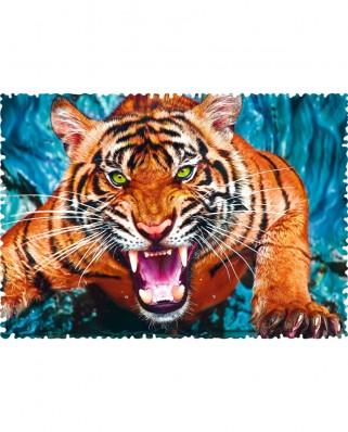 Puzzle Trefl - Crazy Shapes - Facing a tiger, 600 piese dificile (11110)