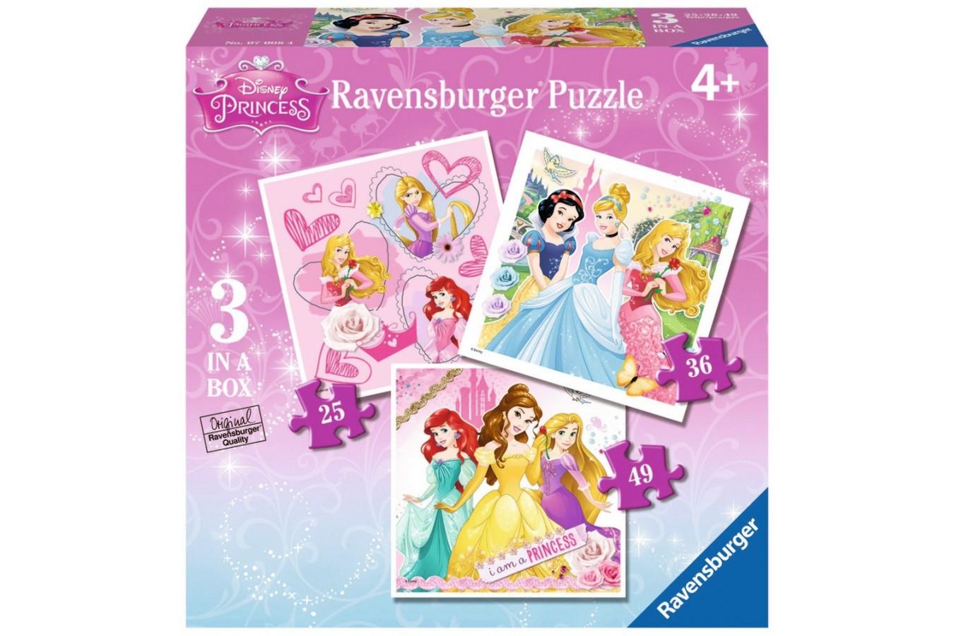 Puzzle Ravensburger - Printesele Disney, 25/36/49 piese (07008)