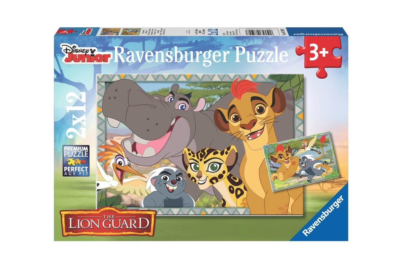 Puzzle Ravensburger - Garda Felina, 2x12 piese (07599)