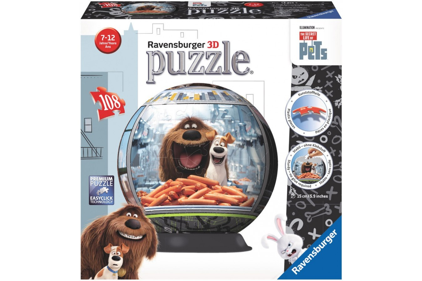 Puzzle glob Ravensburger - Viata Secreta A Animalelor, 108 piese (12216)