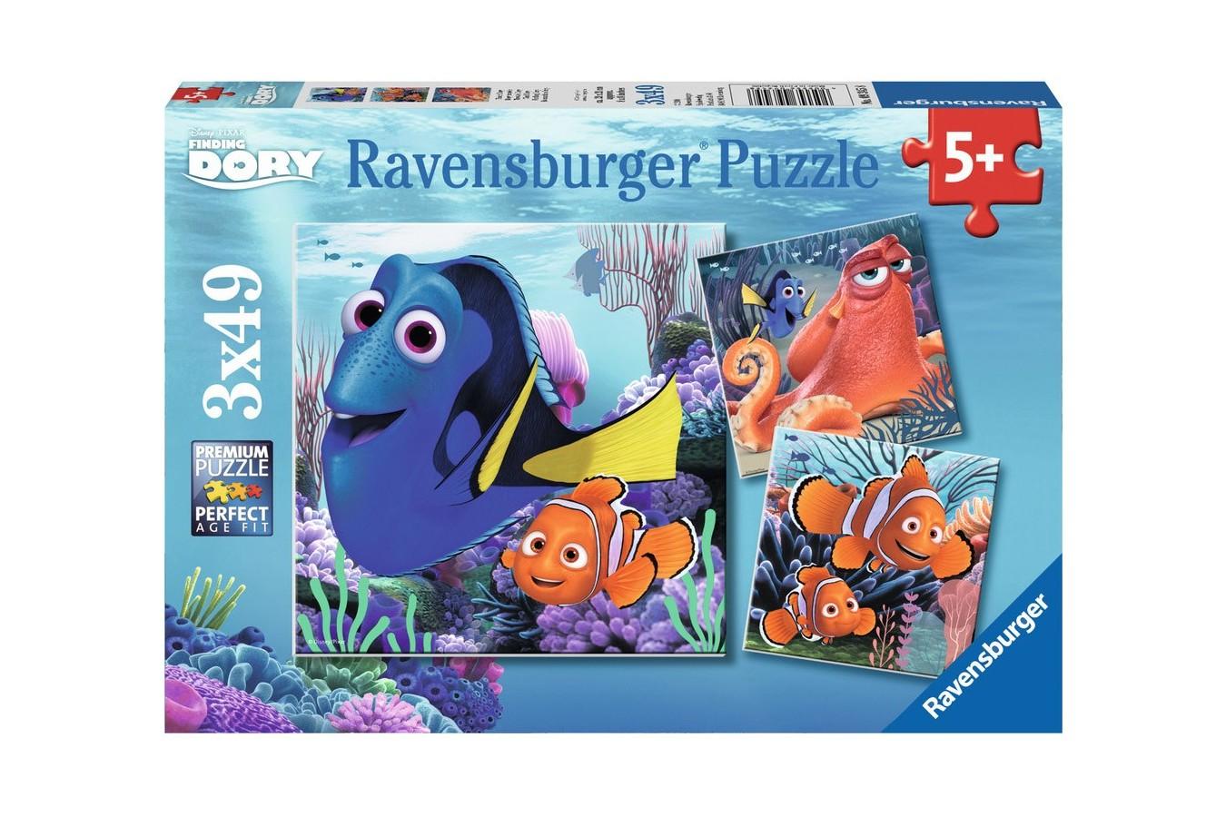 Puzzle Ravensburger - In Cautarea Lui Dory, 3x49 piese (09345)
