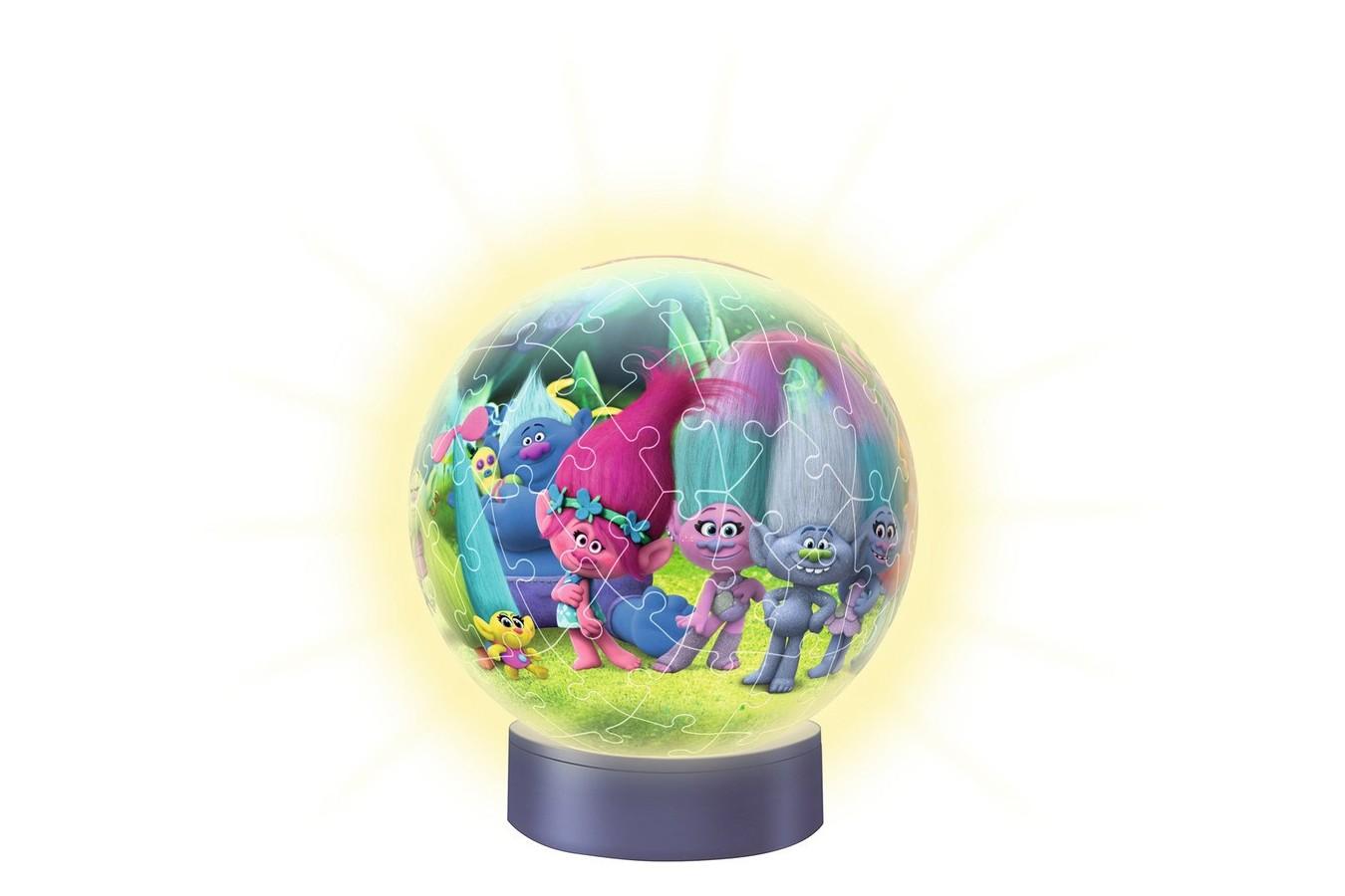 Puzzle glob Ravensburger - Luminos Trolls, 72 piese (12138)
