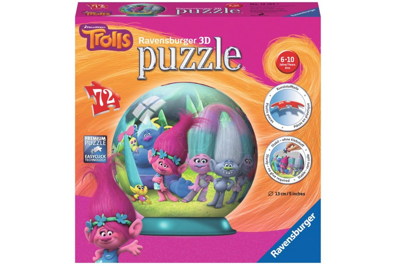Puzzle glob Ravensburger - Trolls, 72 piese (12197)