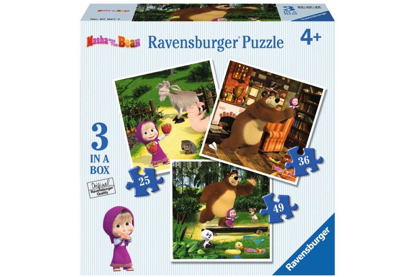 Puzzle Ravensburger - Masha Si Ursul, 25/36/49 piese (07027)