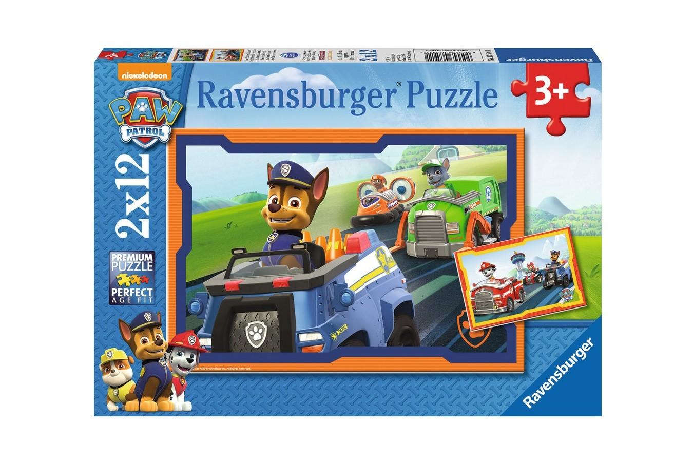 Puzzle Ravensburger - Patrula Catelusilor In Actiune, 2x12 piese (07591)