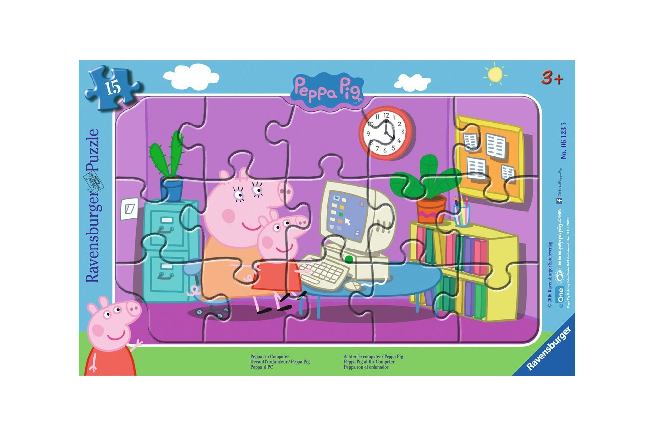 Puzzle Ravensburger - Purcelusa Peppa, 15 piese (06123)