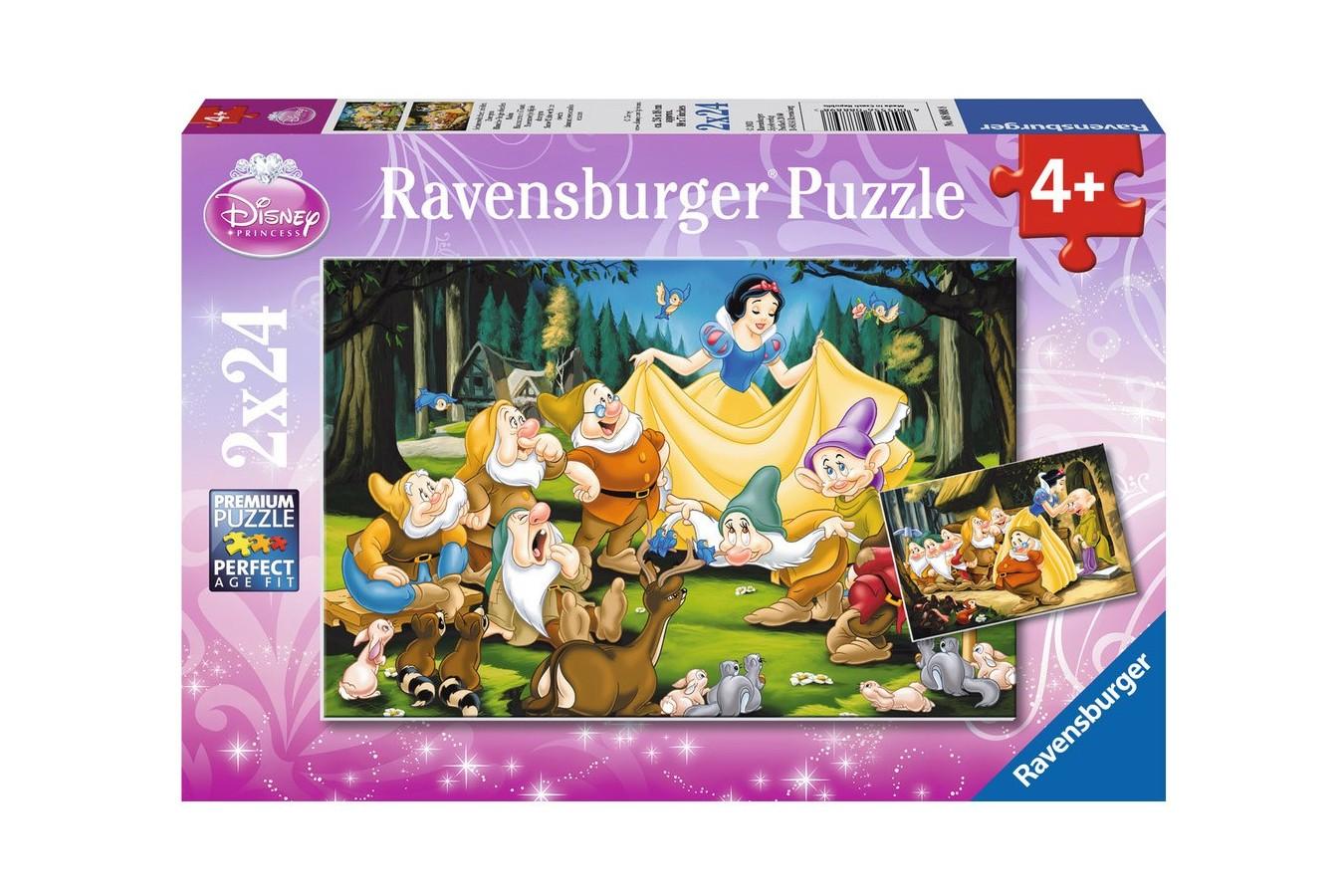 Puzzle Ravensburger - Alba Ca Zapada Si Cei Sapte Pitici, 2x24 piese (08889)