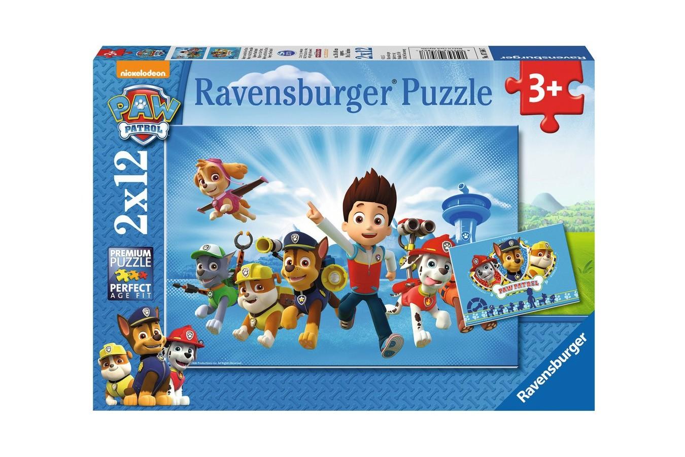 Puzzle Ravensburger - Ryder Si Patrula Catelusilor, 2x12 piese (07586)