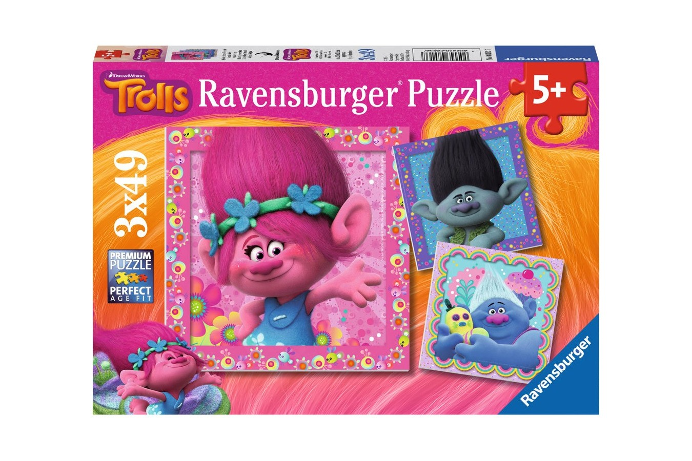 Puzzle Ravensburger - Trolls, 3x49 piese (08013)