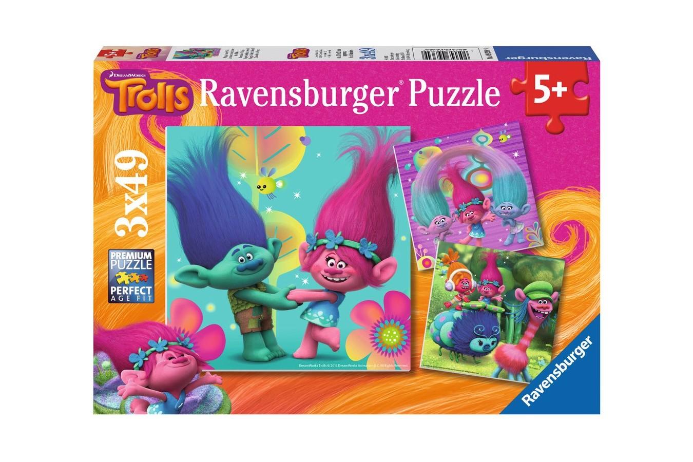 Puzzle Ravensburger - Trolls, 3X49 Piese