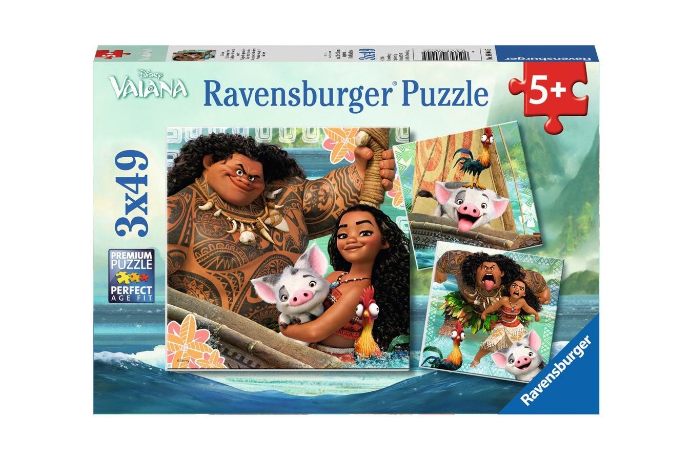Puzzle Ravensburger - Vaiana, 3X49 Piese