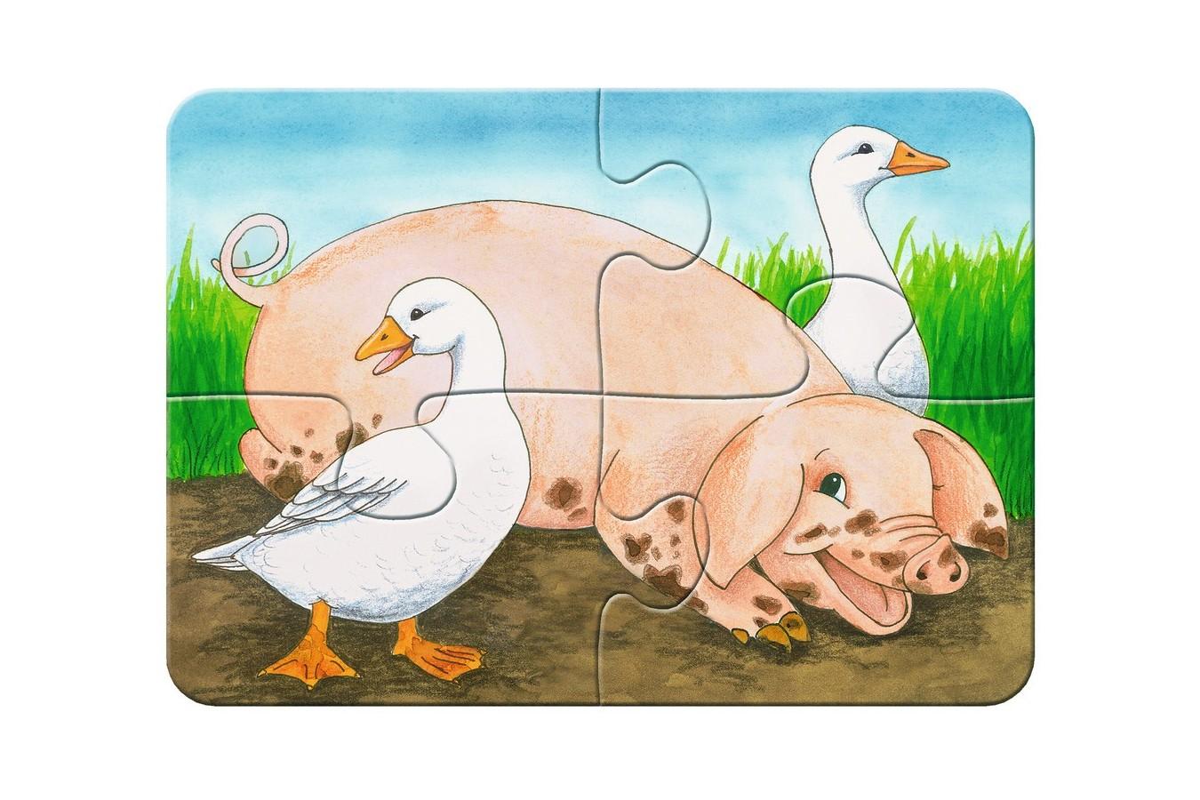 Primul Meu Puzzle Ravensburger - Animale De La Ferma, 2/4/6/8 Piese