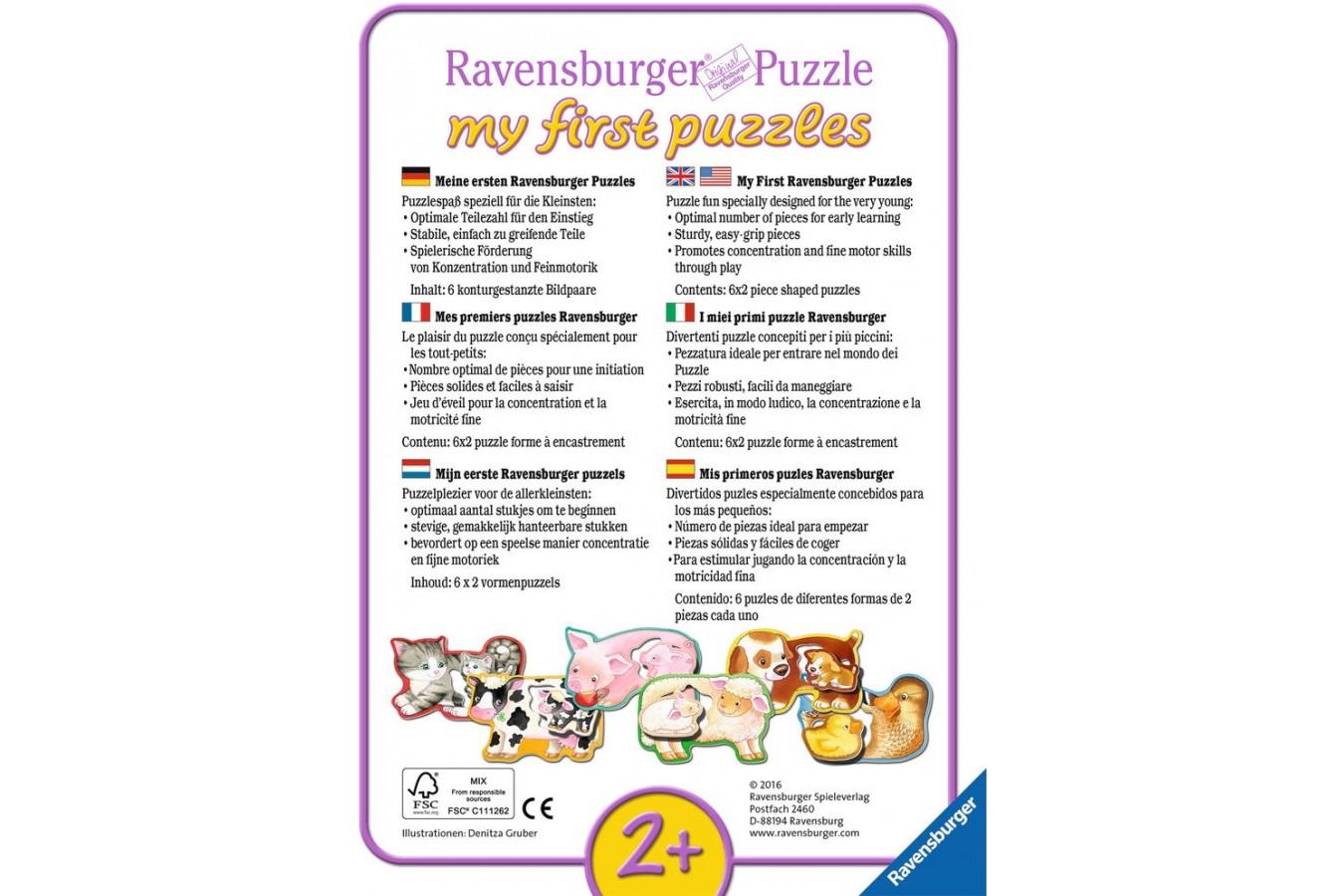 Primul Meu Puzzle Ravensburger - Animalute Cu Pui, 6X2 Piese