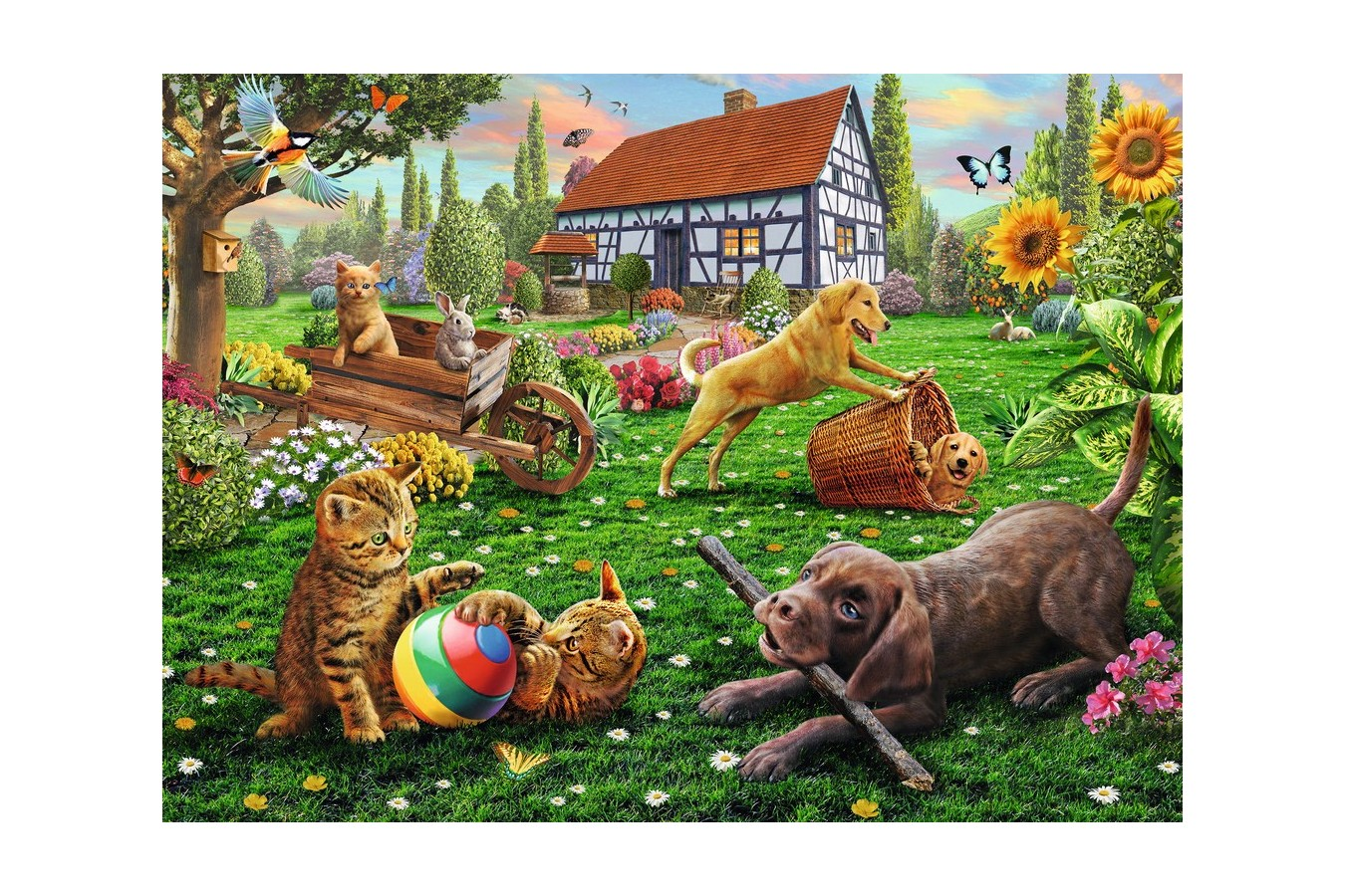Puzzle Ravensburger - Animalute Jucause, 200 Piese