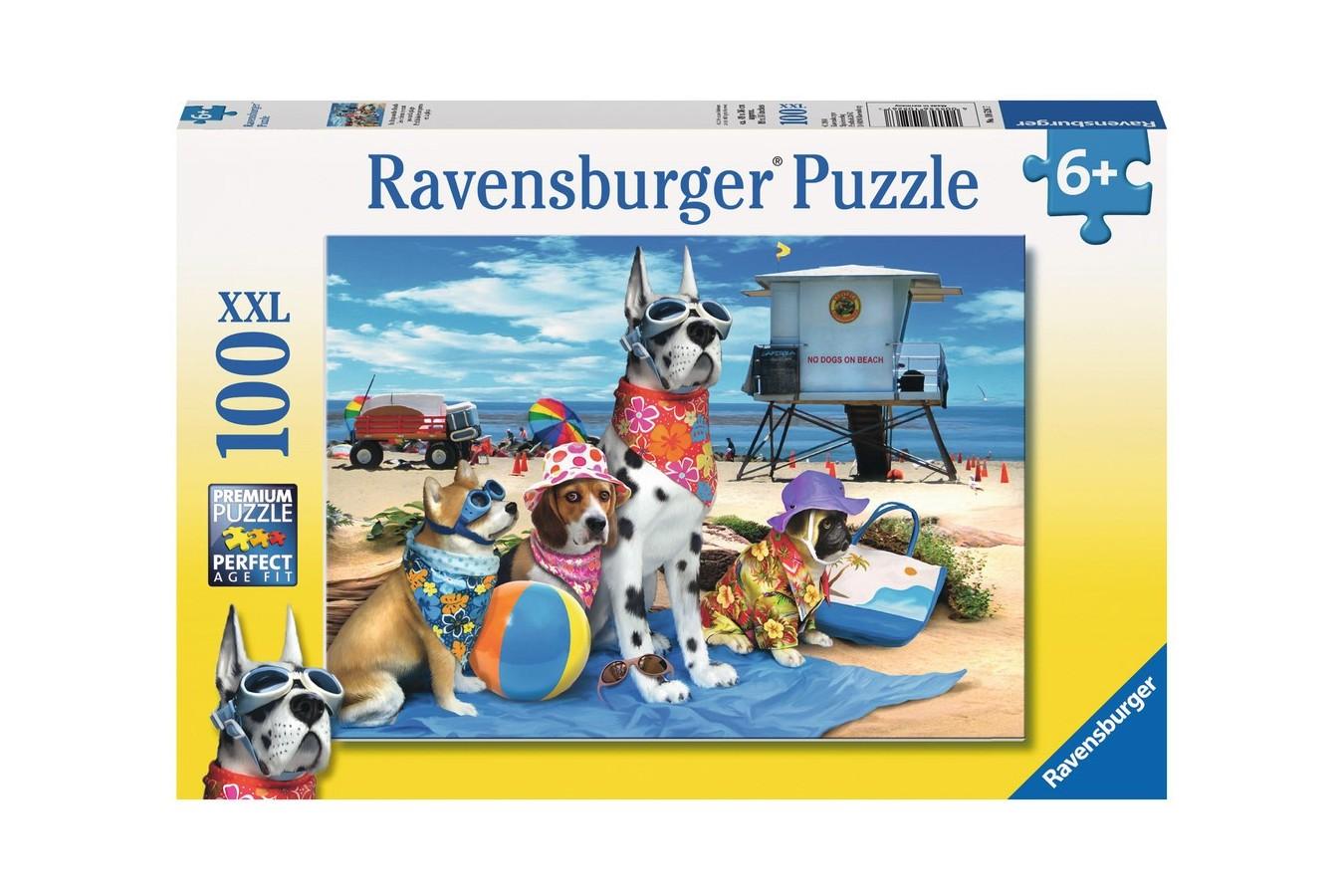 Puzzle Ravensburger - Catelusi Pe Plaja, 100 Piese