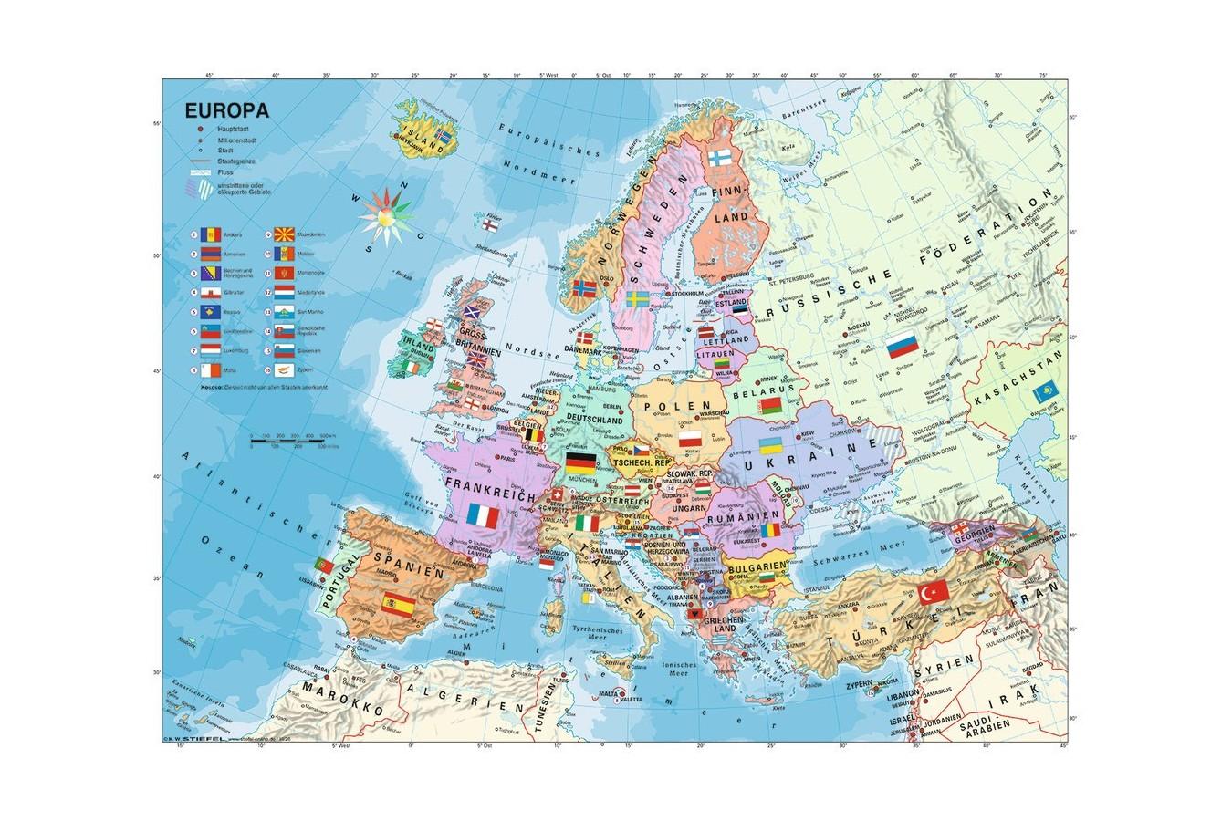 Puzzle Ravensburger Harta Politica A Europei 200 Piese We