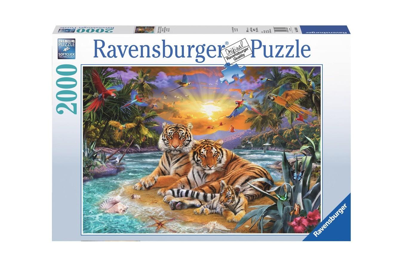 Puzzle Ravensburger - Tigri, 2000 Piese