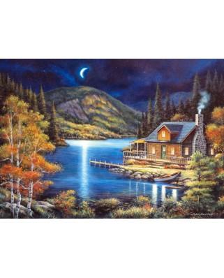 Puzzle Castorland - Moonlit Cabin, 1000 piese