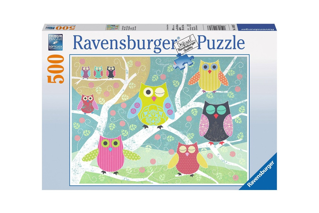 Puzzle Ravensburger - Bufnite Colorate, 500 piese (14362)