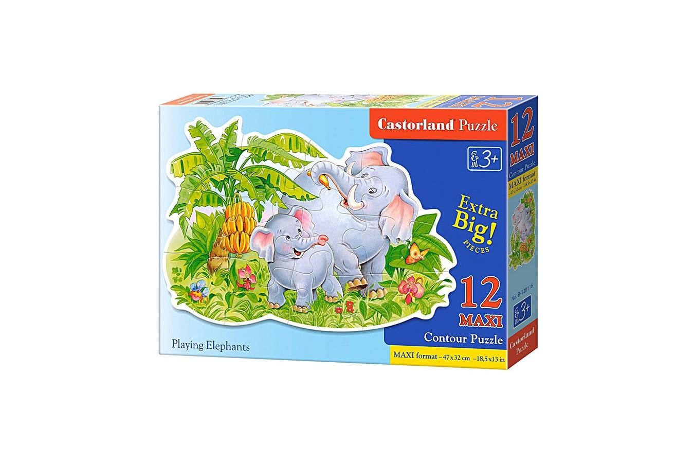 Puzzle Castorland Maxi - Playin Elefants, 12 Piese