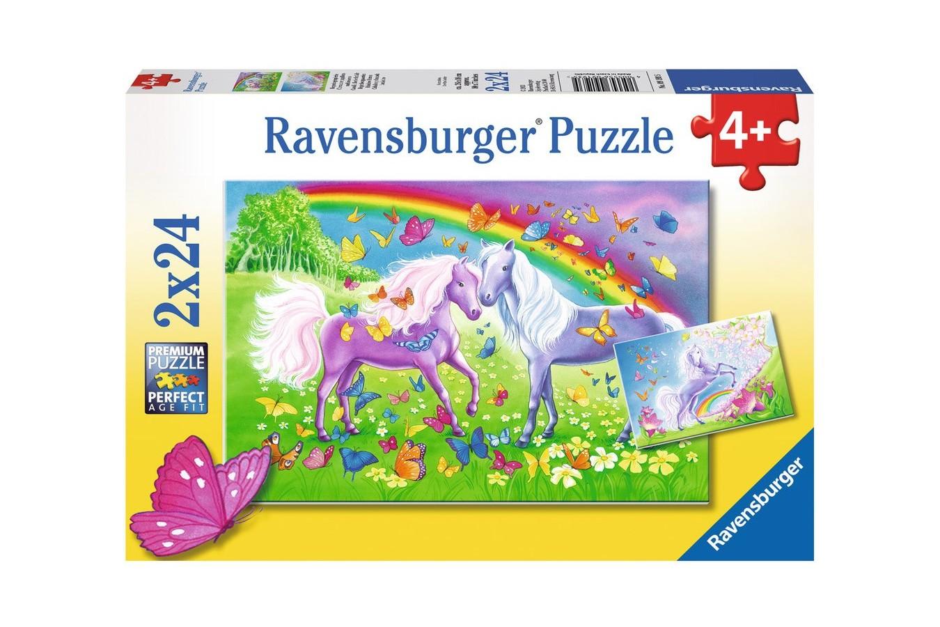Puzzle Ravensburger - Cai Si Curcubeu, 2x24 piese (09193)