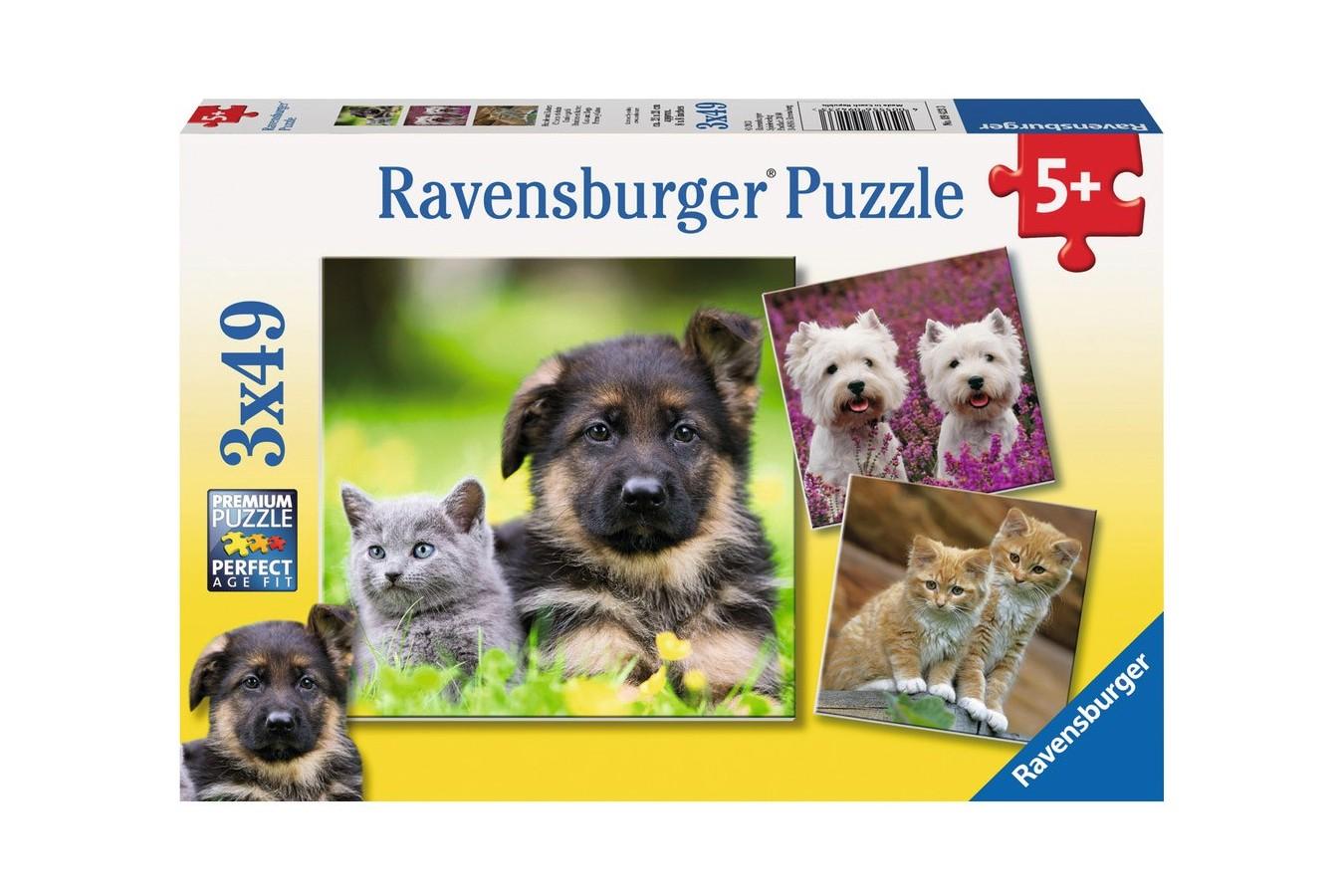 Puzzle Ravensburger - Caini Si Pisici, 3x49 piese (09423)