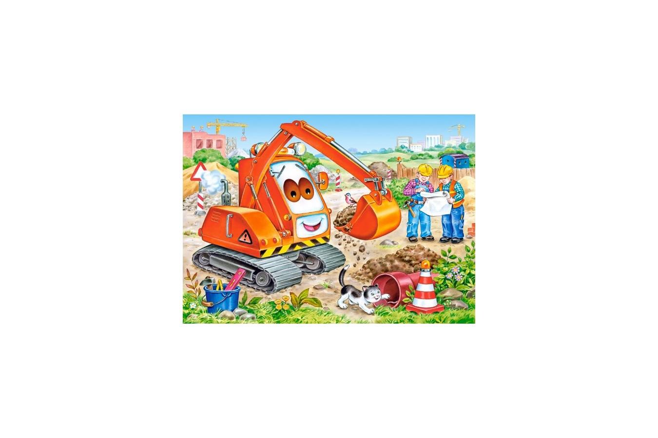 Puzzle Castorland - Orange Excavator, 35 Piese