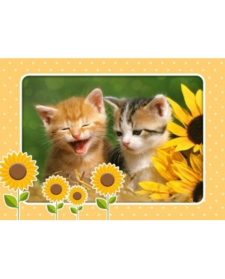 Puzzle Castorland - Two Kittens In Flowerpots, 60 Piese