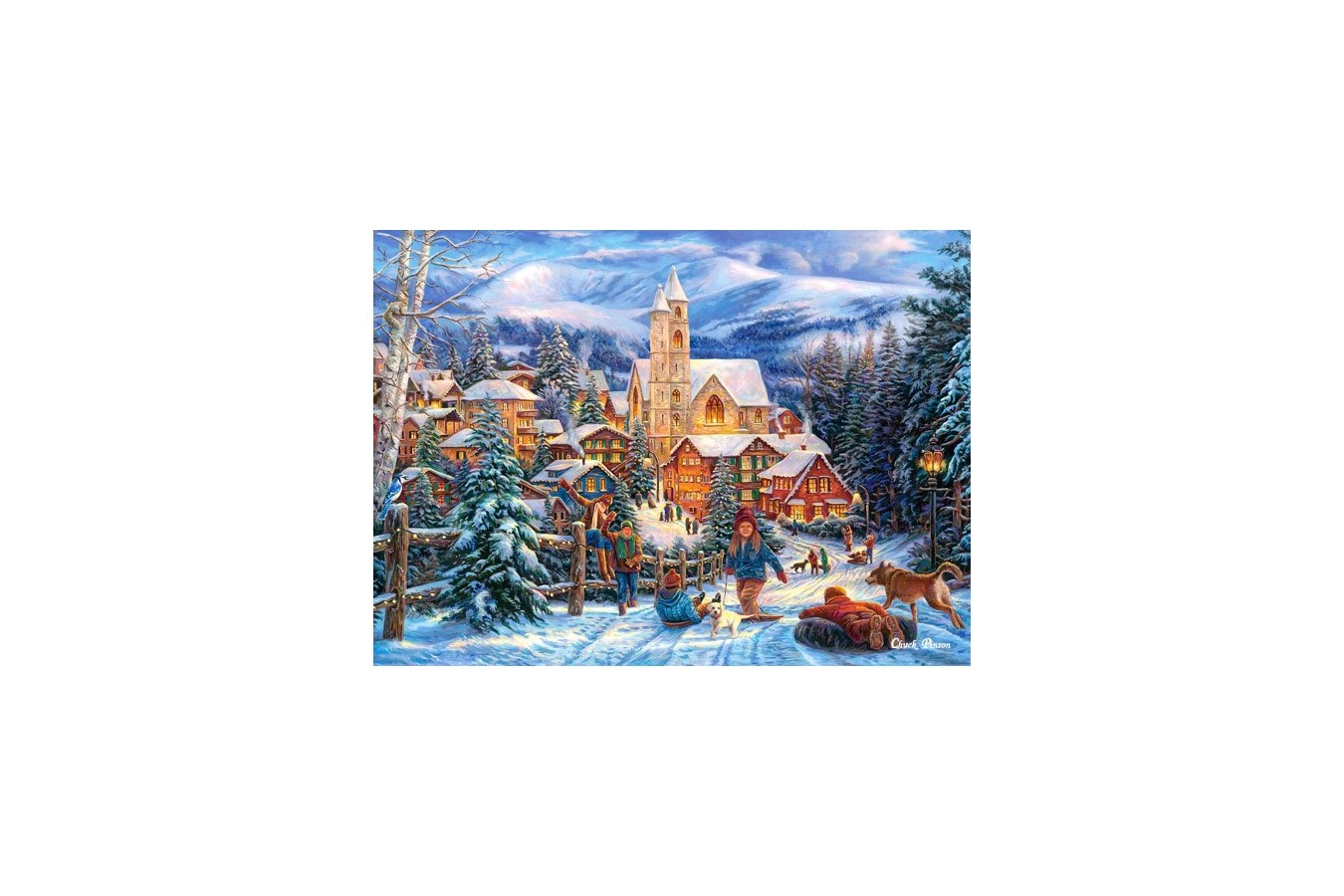 Puzzle Castorland - Sledding To Town, 300 Piese