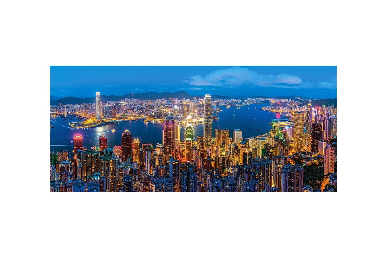 Puzzle Castorland Panoramic - Hongkong Twilight, 600 Piese