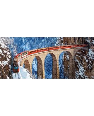Puzzle Castorland Panoramic - Landwasser Viaduct, Swiss Alps, 600 Piese