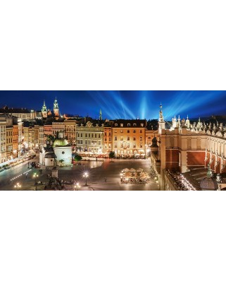 Puzzle Castorland Panoramic - Main Square At Night, 600 Piese