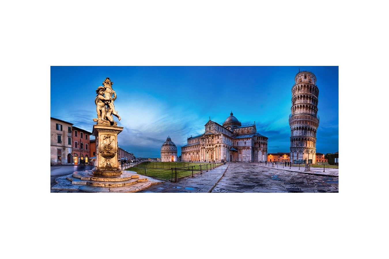 Puzzle Castorland Panoramic - Pisa And Piazza Dei Miracoli, 600 Piese