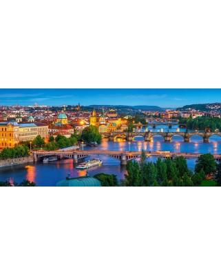 Puzzle Castorland Panoramic - Prague At Night, 600 Piese