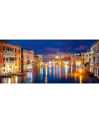Puzzle Castorland Panoramic - The Grand Canal By Night Venice, 600 Piese