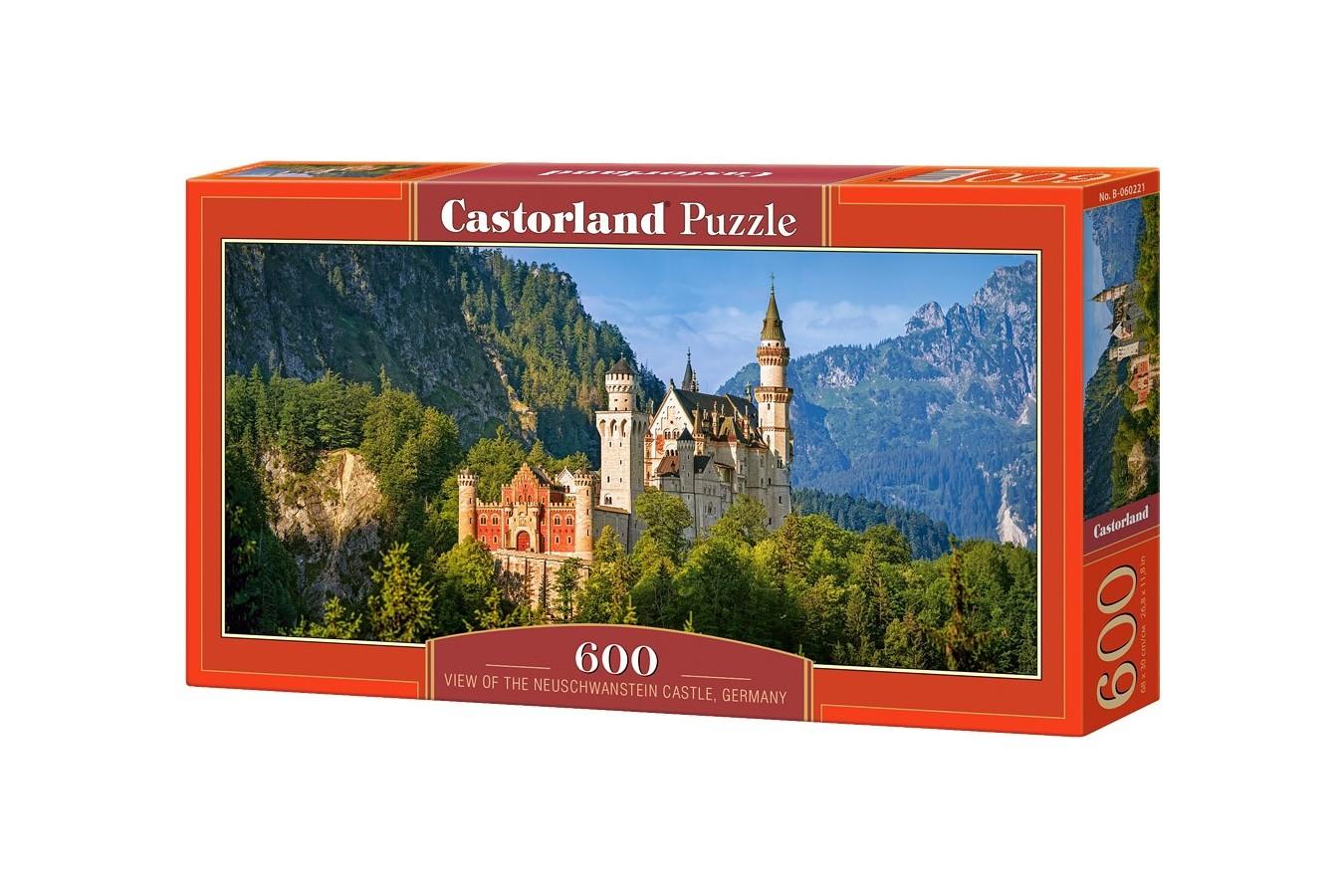 Puzzle Castorland Panoramic - View Of Neuschwanstein, 600 Piese
