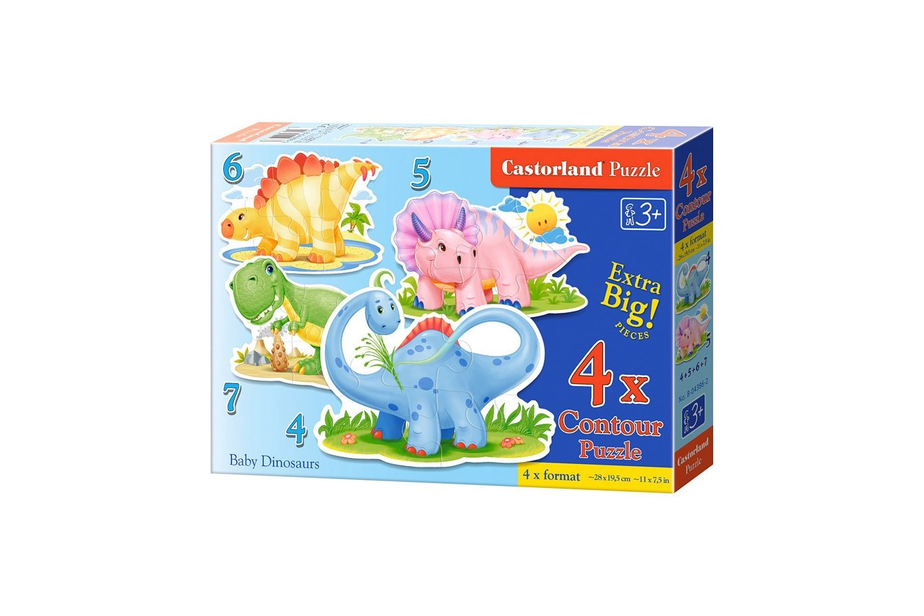 Puzzle Castorland 4 in 1 - Baby Dinousaurs, 4/5/6/7 Piese