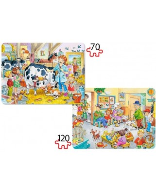 Puzzle Castorland 2 in 1 - Animal Doctor, 70/120 Piese