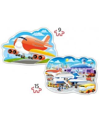 Puzzle Castorland 2 in 1 Contur - Airport Adventures, 9/15 Piese