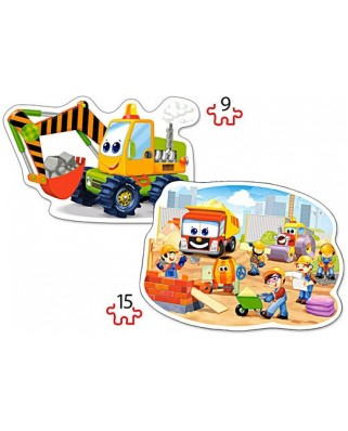 Puzzle Castorland 2 in 1 Contur - Construction Works, 9/15 Piese