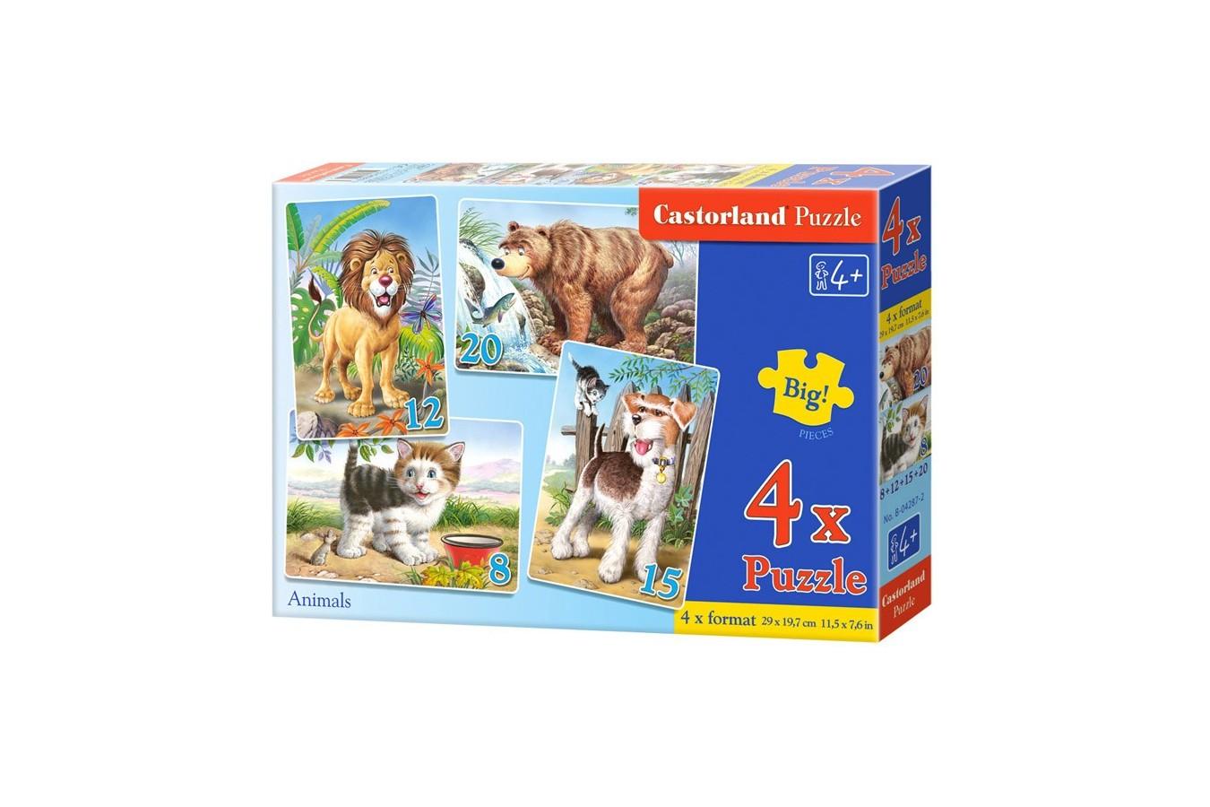 Puzzle 4 in 1 Castorland - Animals, 8/12/15/20 piese