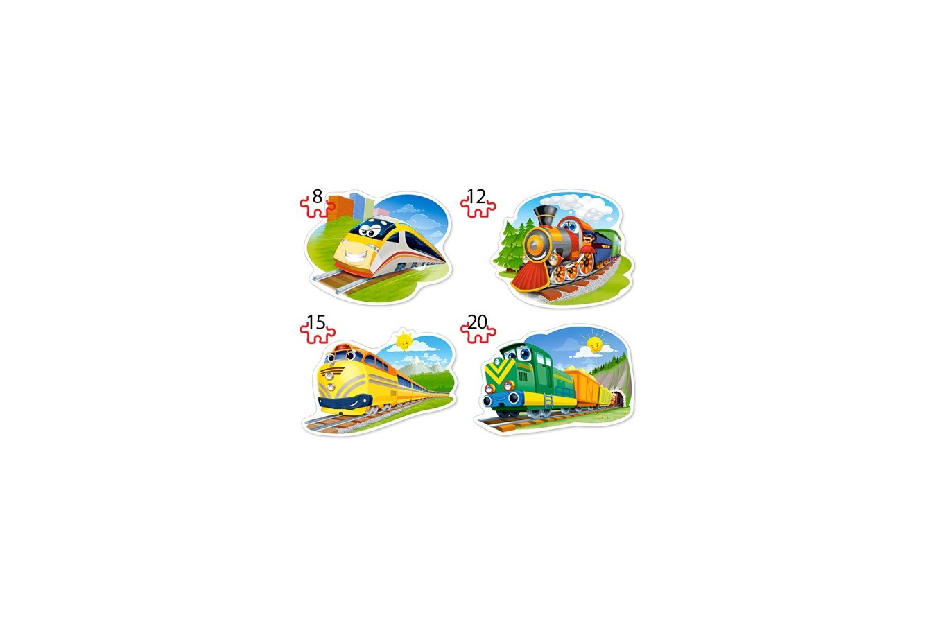Puzzle 4 in 1 Contour Castorland - Funny Trains, 8/12/15/20 piese