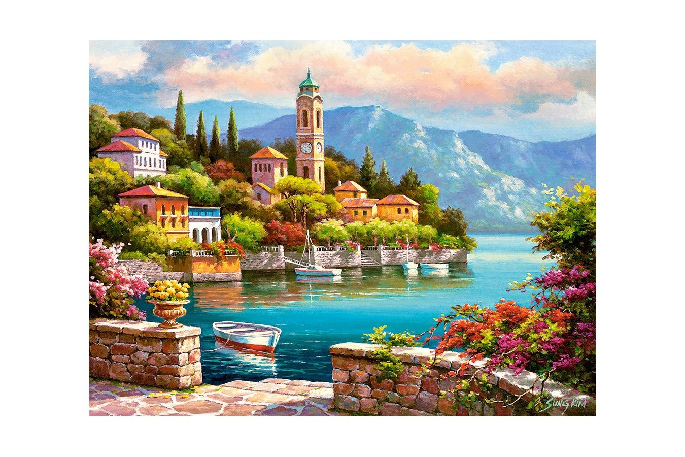 Puzzle Castorland - Village Clock Tower, 2000 piese