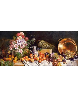 Puzzle Castorland Panoramic - Still Life with Fruits and Flower on Table, 600 piese
