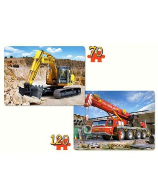 Puzzle Castorland 2 in 1 - Construction Machines, 70/120 piese