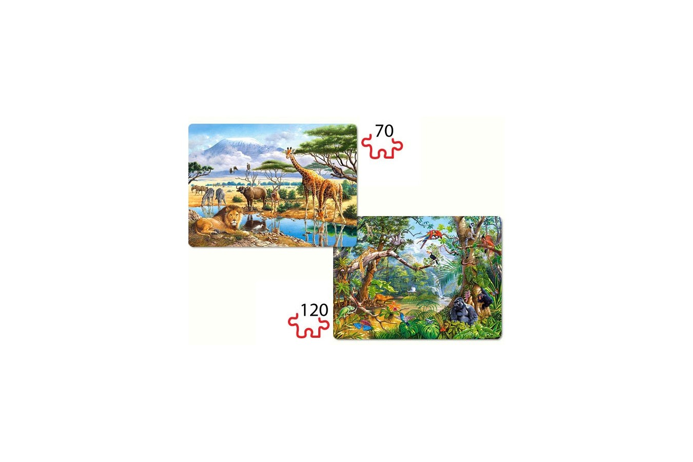 Puzzle Castorland 2 in 1 - Savanna and Jungle, 70/120 piese