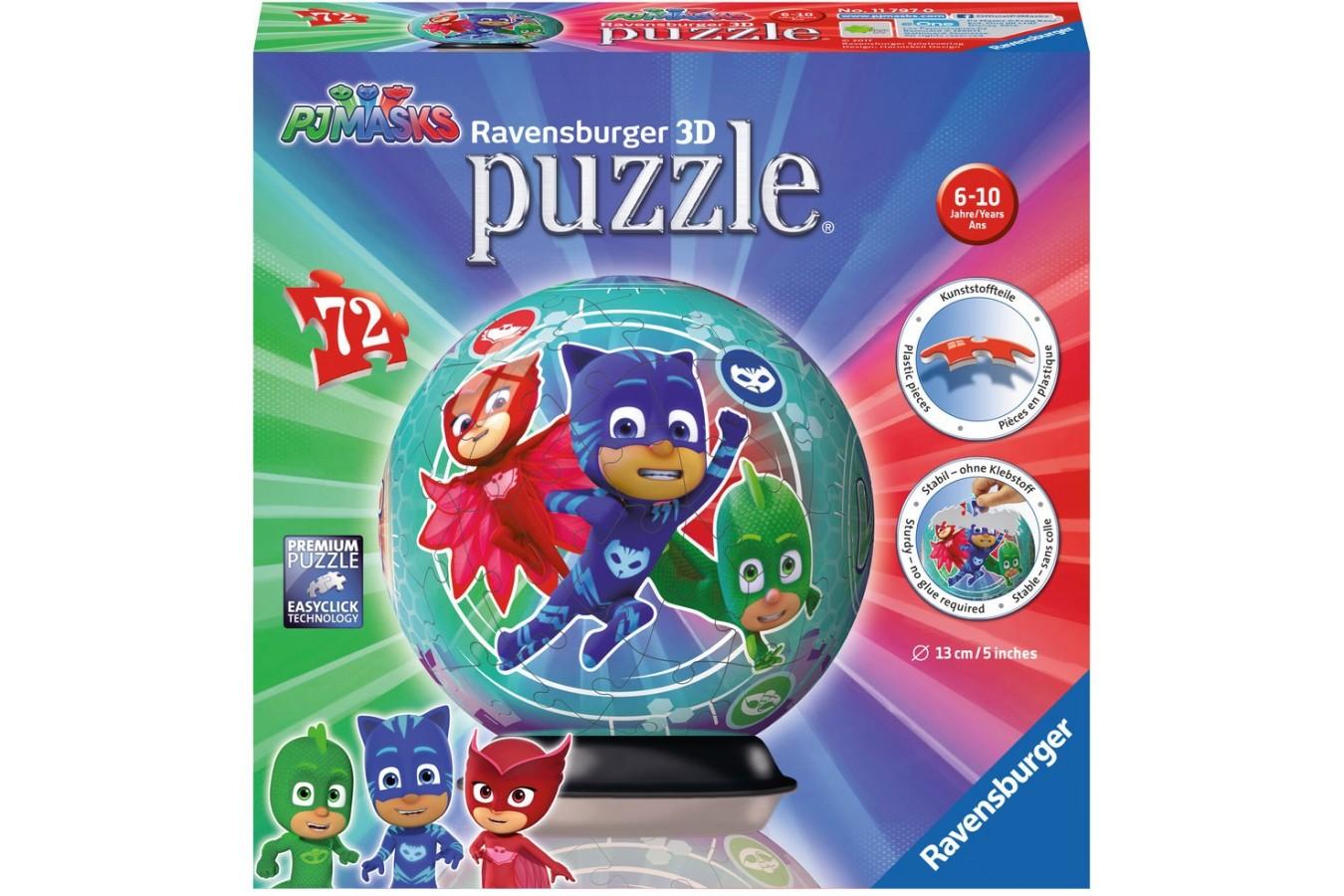 Puzzle glob Ravensburger - Eroi In Pijamale, 72 piese (11797)